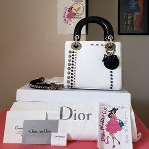 Lady dior mini black white beaded bag